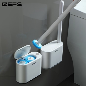 IZEFS Disposable Toilet Brush With Cleaning Liquid Wall-Mounted Cleaning Tool For Bathroom Replacement Brush Head Wc Accessories