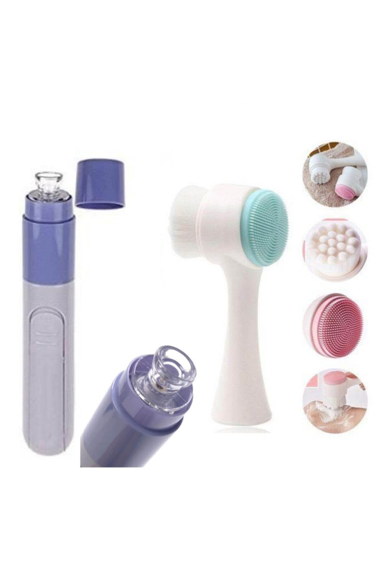 QNİAY Set of 2 Pore Cleaner Vacuum Blackhead Removal + Double Sided 3d Facial Cleansing Brush
