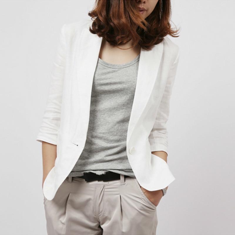 2021 Summer Autumn Slim Fit Blazer Women Formal Jackets Office Work Notched 3/4 Sleeve Cotton Linen White Blue Plus Size