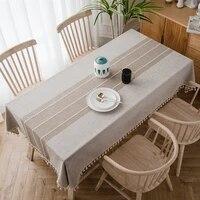 tassel tablecloth cotton linen dust proof tablecloth suitable for kitchen dining table desktop decoration four seasons available