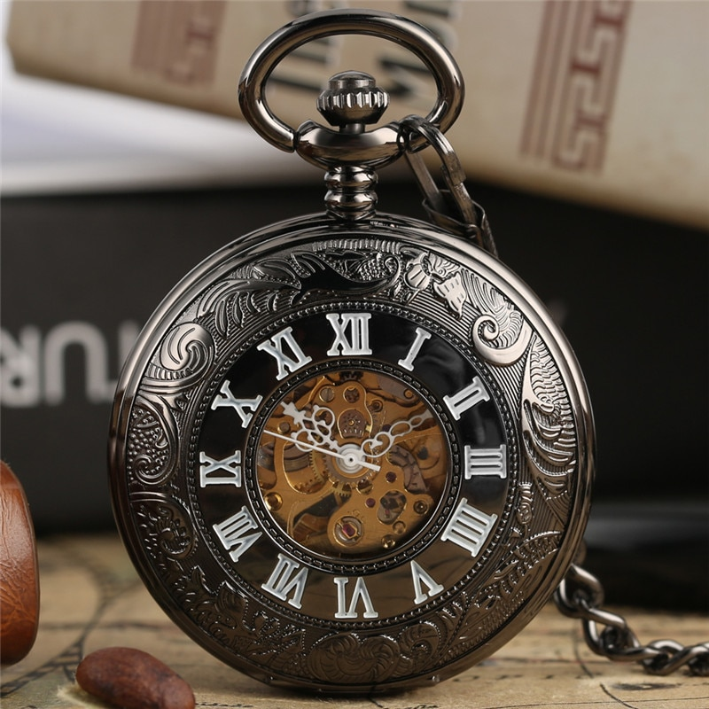 Retro Pocket Watch Carving Roman Numerals Hollow Automatic Mechanical Watches for Men Women Pendant Chain Collectable Clock