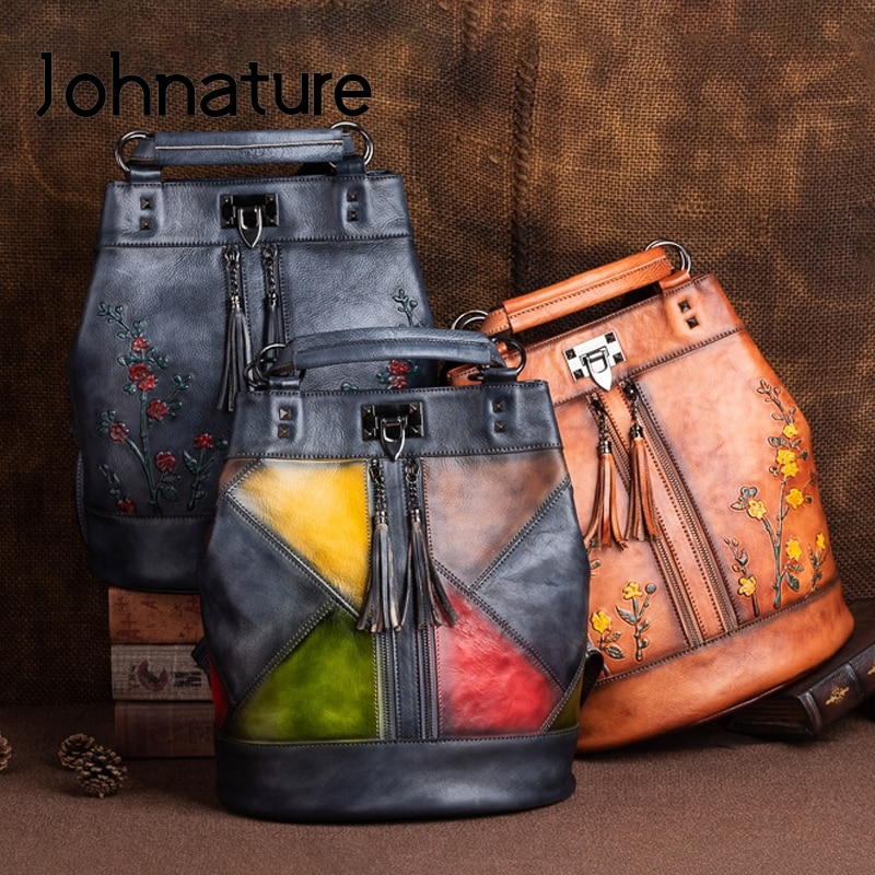 Johnature 2021 New Vintage Nature Cow Leather Women Backpack Travel Bag Large Capacity Handmade Embossed Female Shoulder Bags