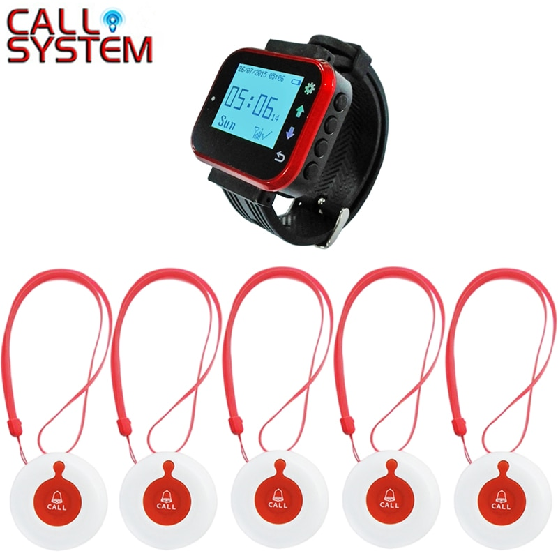 Caregiver Pager Wireless SOS Call Button Nurse Alert Patient Help System for Home Elderly