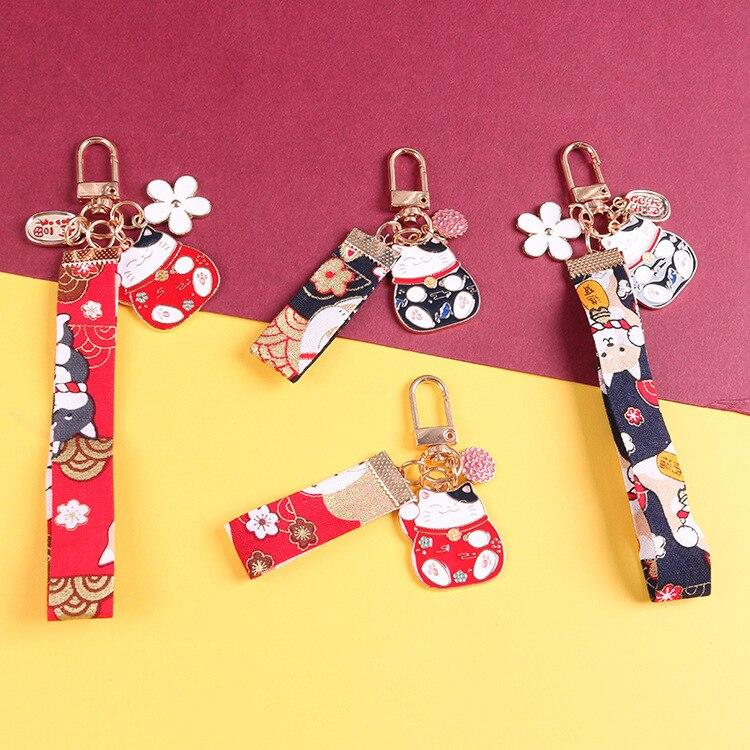 1pc Omamori Styles Maneki Neko Ribbon pendant decorative alloy keyring ins brocade carp flower car keychains