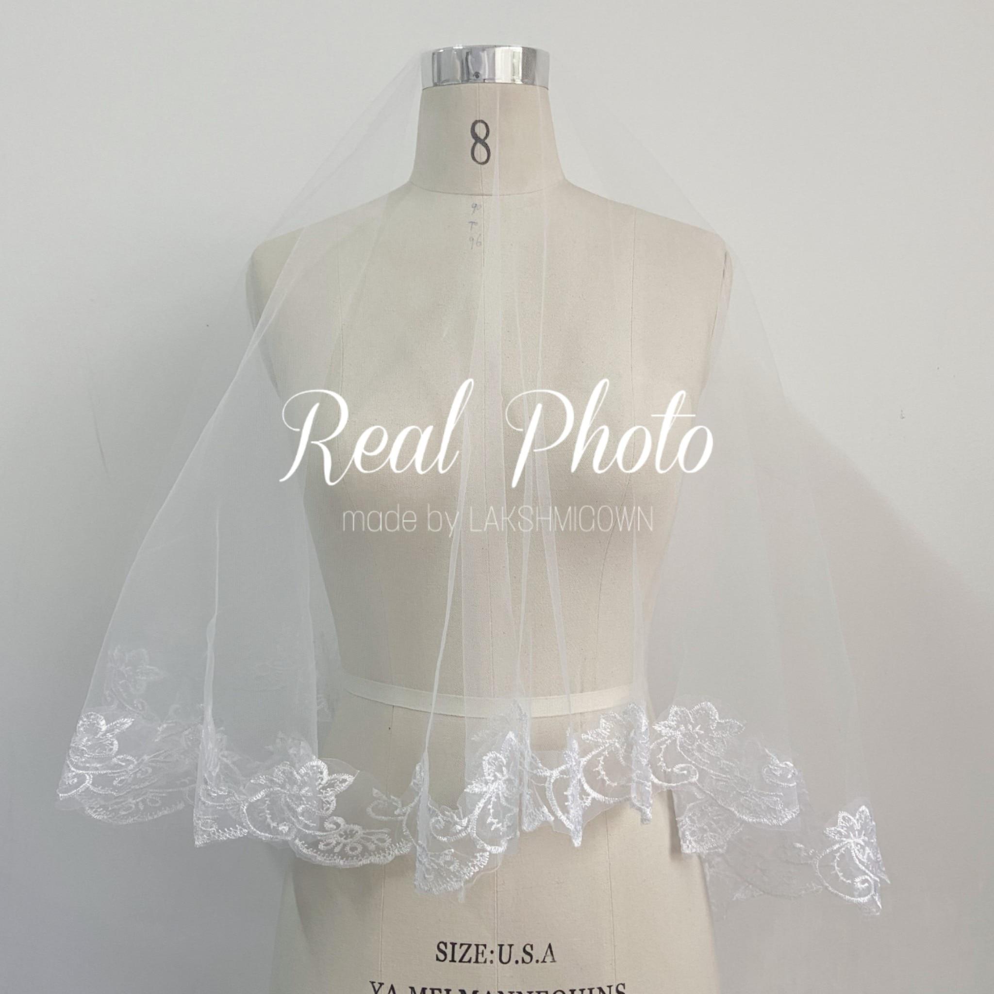 Kathedraal bruiloft witte en ivoren sluiers korte een laag - Bruiloft accessoires - Foto 3