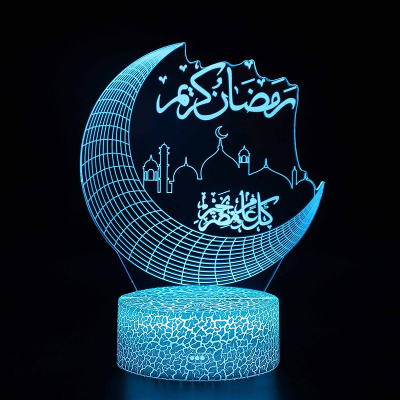 3D Ramadan LED Lights Acrylic EID Mubarak Muslim Decoration for Home Desktop Lights Moon Stars Remot