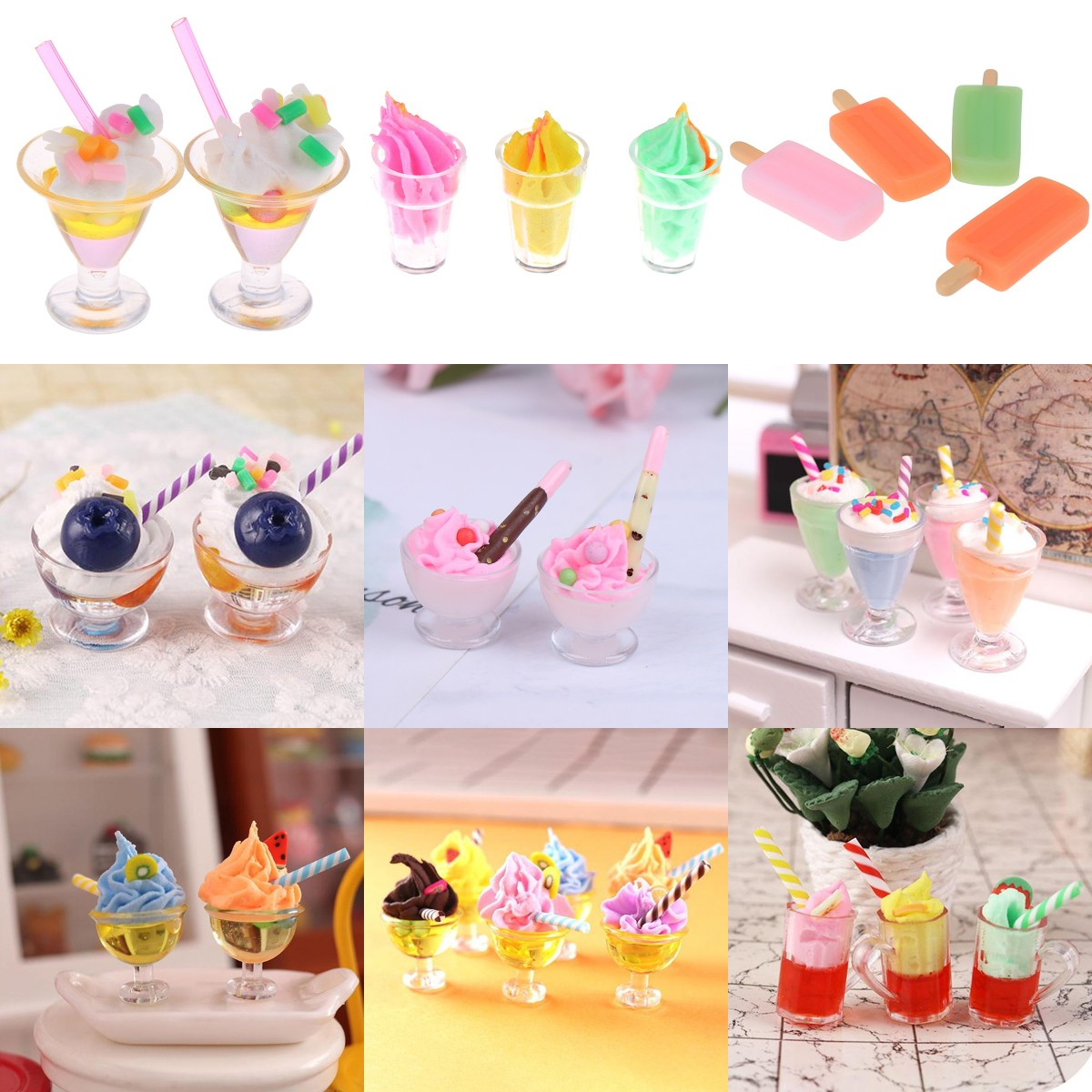 1pc Drink Ice Cream Cups Model Pretend Play Mini Food Doll Accessories Fit Play House Toys Dollhouse Miniature Christmas Gift