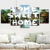 Douce maison belle paysage Rural Art affiche Hd imprimer sans cadre toile peinture salon maison decoration murale 5 pieces