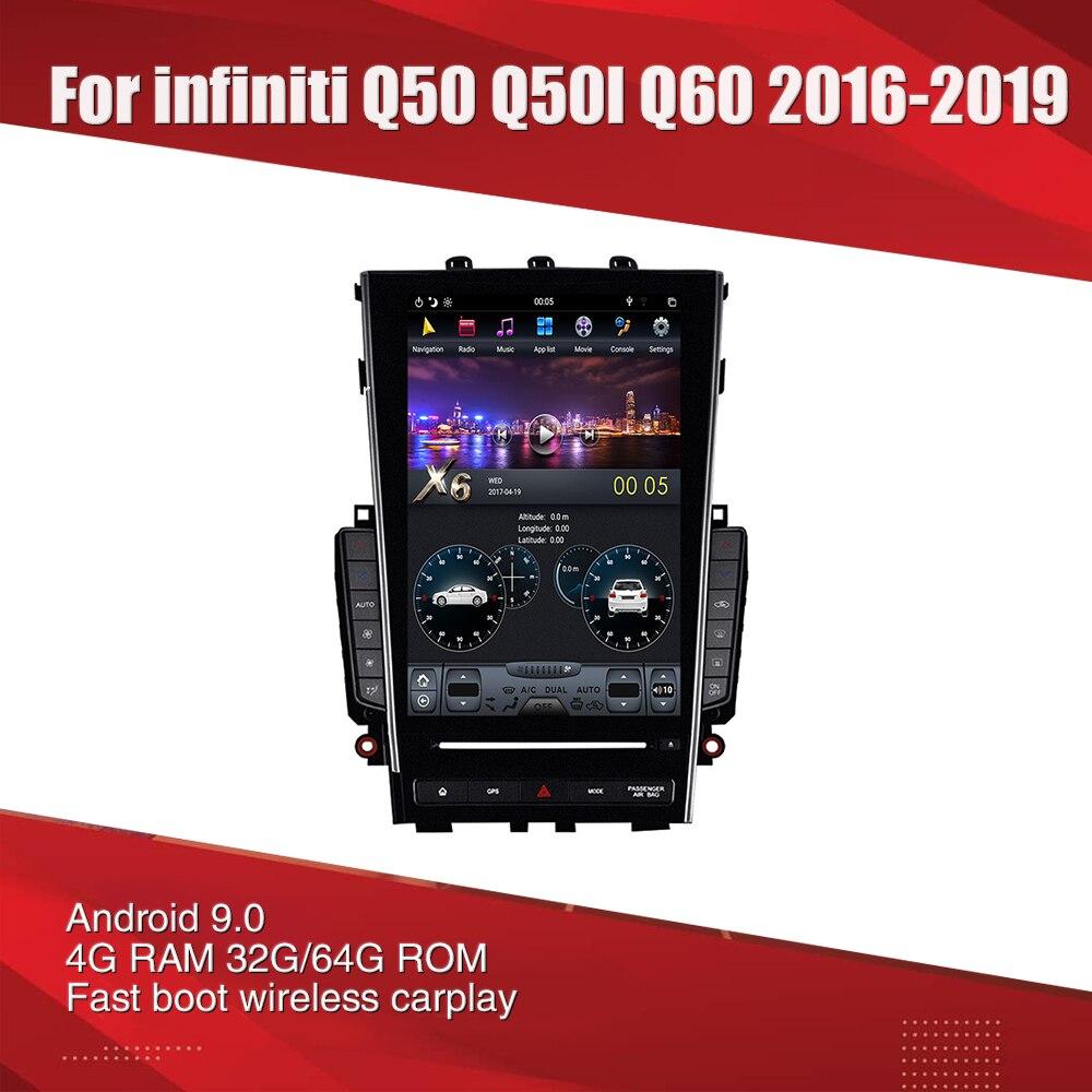 AuCar Tesla-autoradio multimédia   Android 9, gps, navigation, pour Infiniti Q50 Q50L Q60 mark 3 2016, lecteur stéréo de voiture 1din 2din
