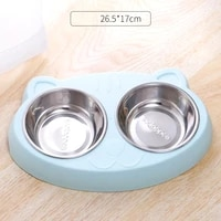 thickened two in one pet bowl big eyed cute cat with stainless steel cat double bowl cat dog food bowls food container