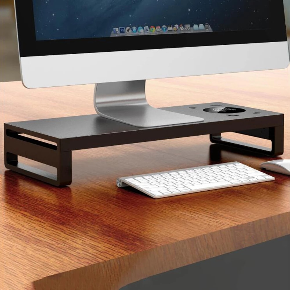 Multi-Function Monitor Stand Laptop PC Stand Aluminum Shelf Computer Screen Riser Desktop with USB Wireless Charging Plinth enlarge