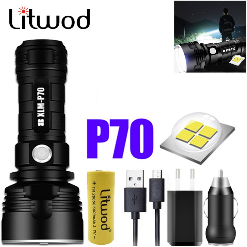 LIitwod xhp70.2 250000cd potente linterna LED recargable USB 18650 batería 26650 linterna muy brillante Lámpara para Camping pesca