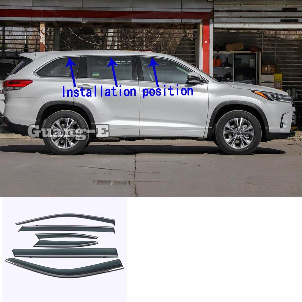 لتويوتا هايلاندر 2020 2021 2022 سيارة التصميم عصا مصباح البلاستيك زجاج النافذة الرياح قناع المطر/الشمس الحرس تنفيس أجزاء 6 قطعة