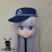 rabbit 78 resin cross dress pretty girl head bid doll mask japanese anime kigurumi mask cosplay with wig