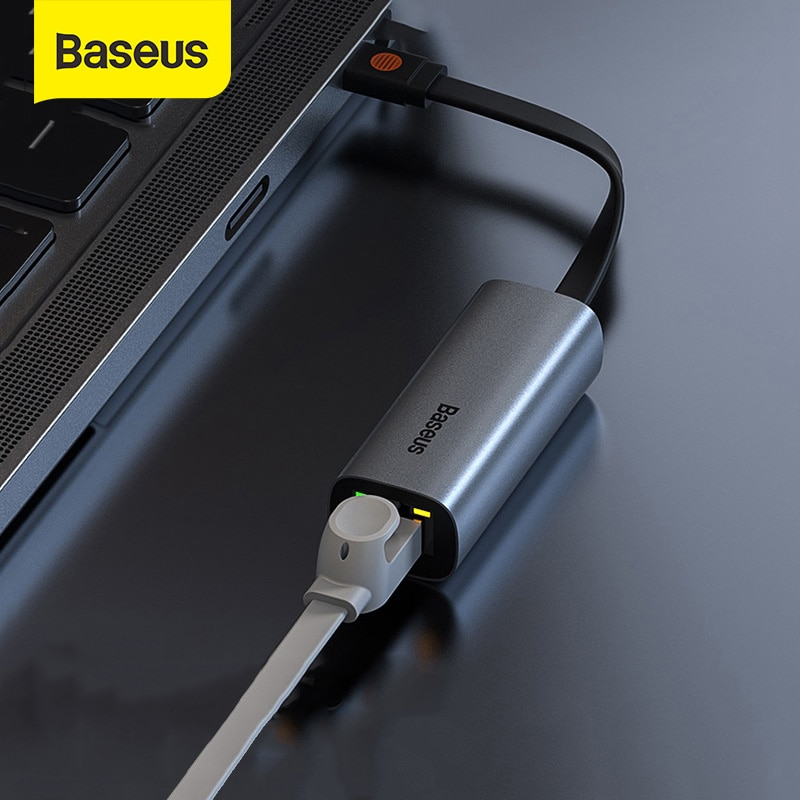 Baseus USB Ethernet Adapter 2 in 1 USB Type C Network Card to 1000Mbps Ethernet HUB for MacBook Pro