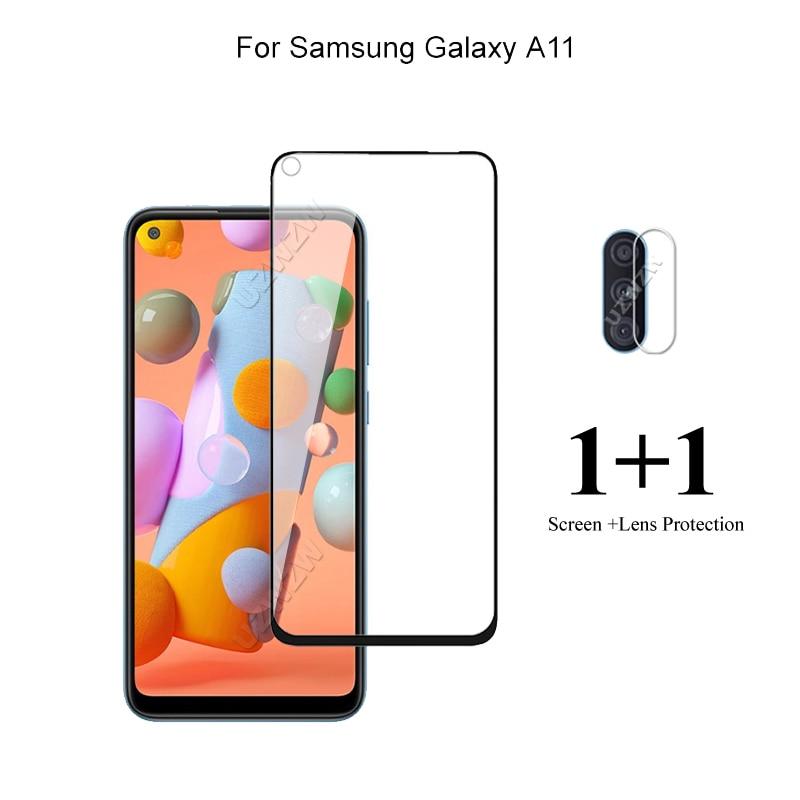 Para Samsung Galaxy A11 Protector de pantalla frontal vidrio templado Protector de lente de cámara para Samsung Galaxy A11