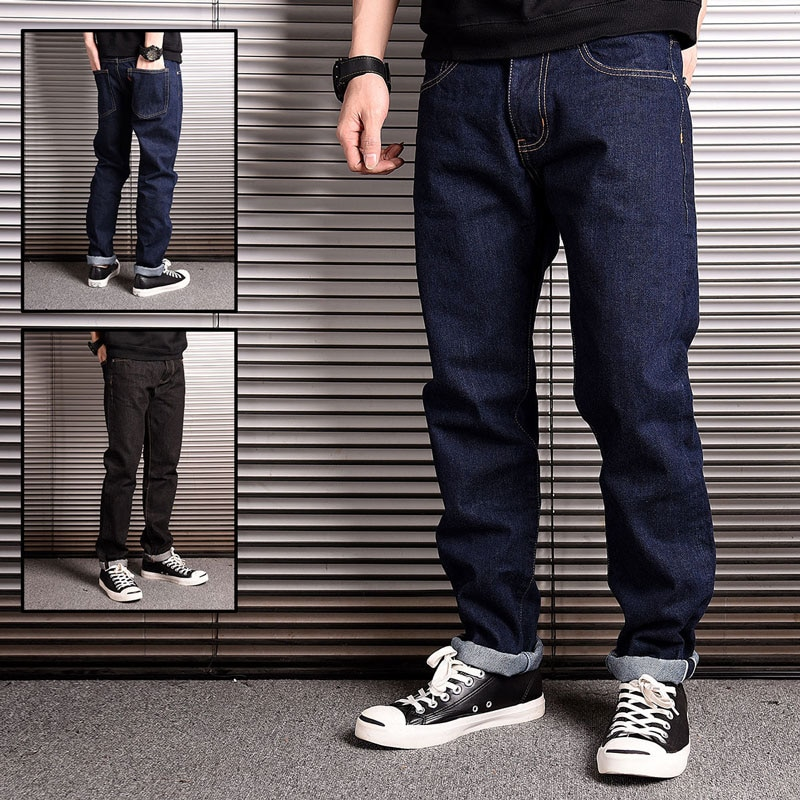 Japanese Style Fashion Men Jeans High Quality Original Raw Denim Harem Pants Vintage Designer Cotton Long Trousers