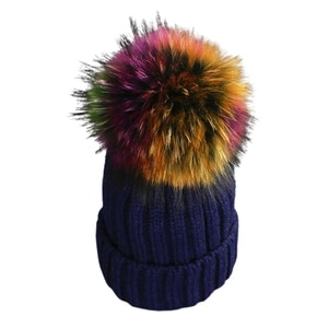 Adult Kids Winter Ribbed Knitted Beanie Hat with Detachable Colorful Pom Pom Windproof Ski Cuffed Skull Cap Ear Warmer