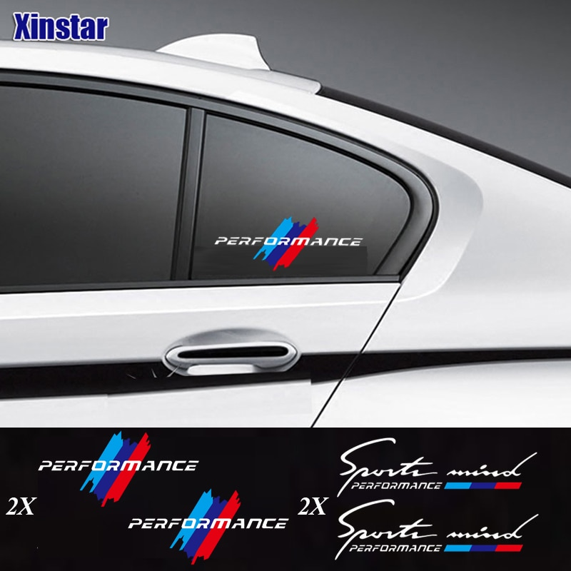 2pcs M Power Performance car windows sticker for bmw E36 E39 E46 E60 E61 E64 E70 E71 E85 E87 E90 E83 F10 F20 F21 F30 E80