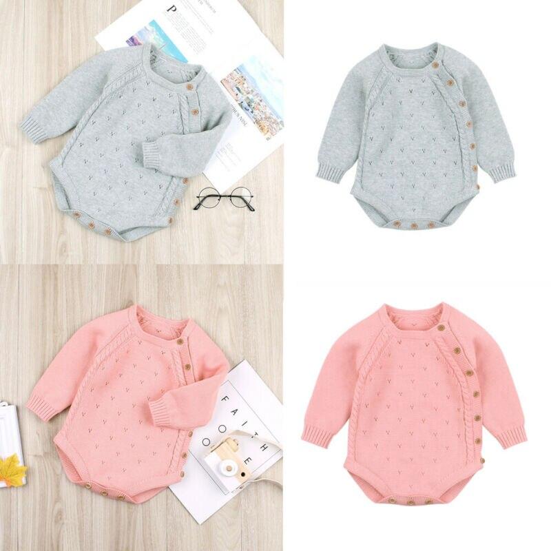 0-18M Boutique chica ropa de bebé recién nacido Ropa niñas niños ropa de bebé otoño cálido mono trajes con botones mono de invierno
