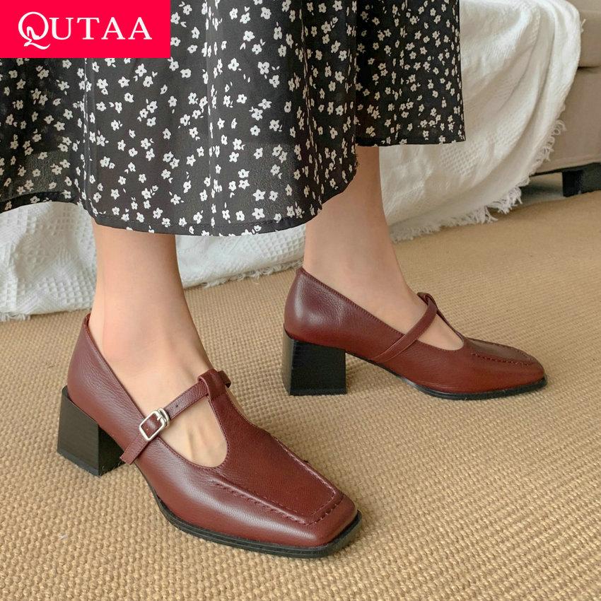 QUTAA 2021 الربيع الخريف ساحة تو ريترو المرأة مضخات جلد طبيعي مربع عالية الكعب T-حزام مشبك السيدات أحذية حجم 34-39