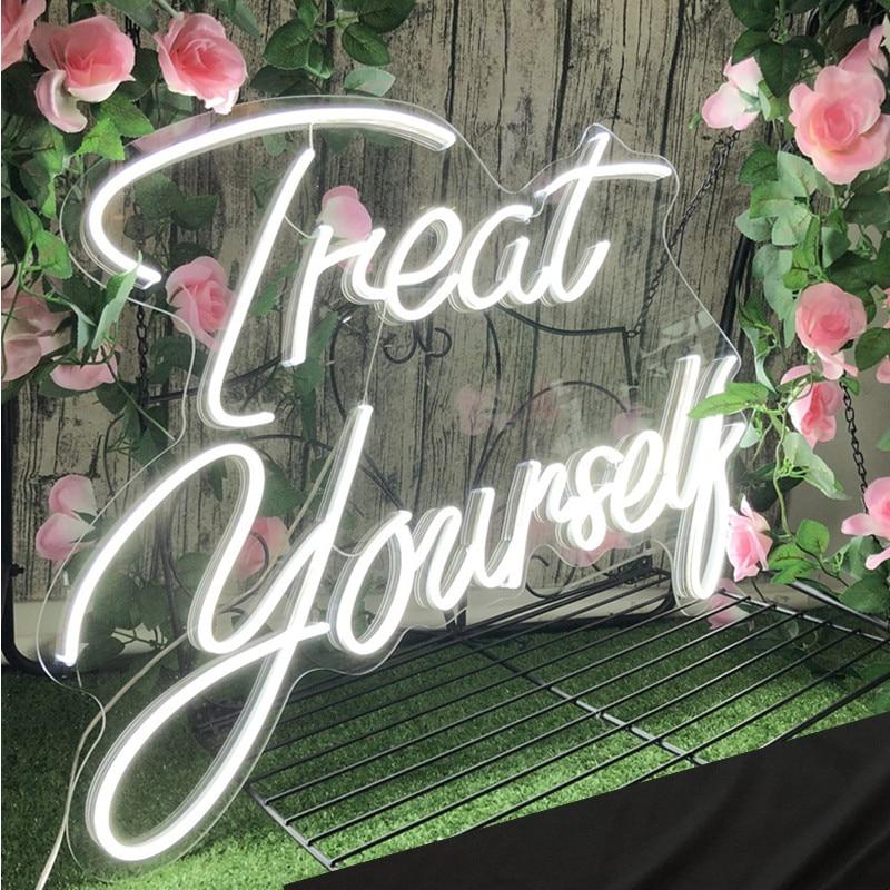 شعار نيون مخصص ضوء علاج نفسك LED فليكس لوح أحرف عيد ميلاد الزفاف في الهواء الطلق داخلي غرفة ديكور للتعليق على الحائط هدية