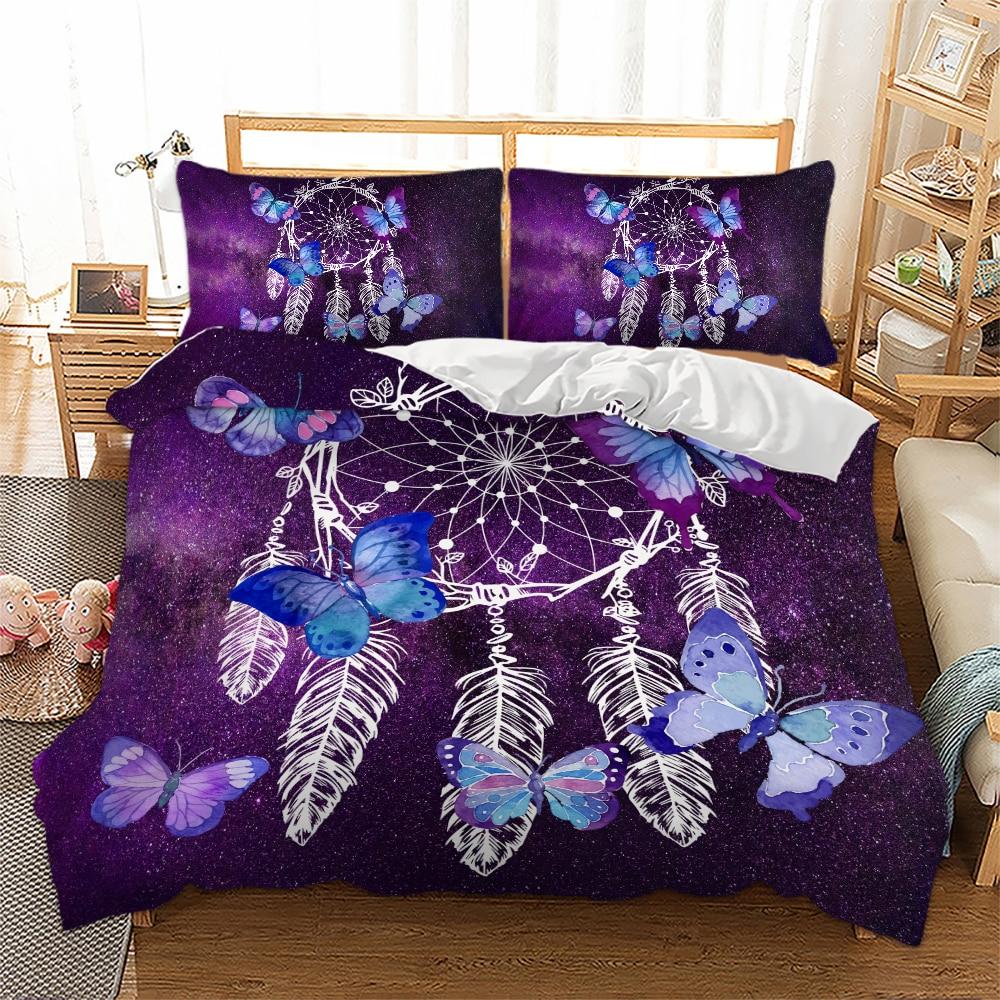 3D Butterfly DreamCatch Duvet Cover with Pillowcase Set Zipper Closure Single Double Full Queen King Size Kids Duvet Cover