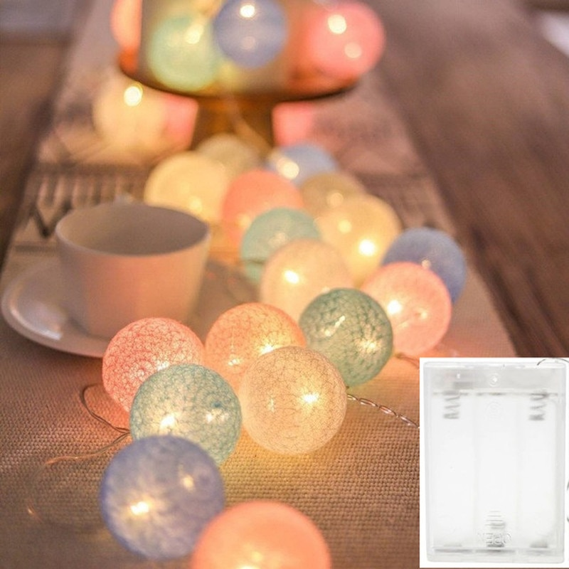 40 LED Cotton Ball String Lights Battery Operated Colorful Garland Fairy Lights for Home Wedding Christmas Party Outdoor Decors 3m globe led garland starry crystal wishing ball string lights decors for curtains bedroom living room balcony christmas wedding