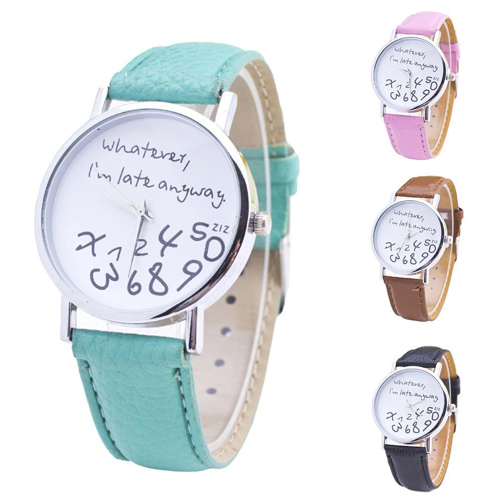 Women Whatever Im Late Anyway Letter Round Dial Faux Leather Strap Quartz Watch Fashion Letters Numb