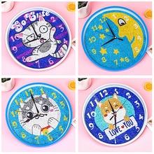 5D Diamond Painting Clock For Home Decoration  Cartoon Animal Cat Clock Diamond Mosaic Rhinestone Round Diamond Crystal