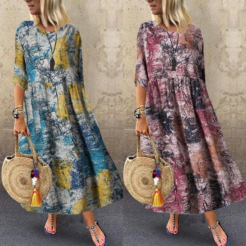 ZANZEA-vestido playero largo de talla grande para mujer, Túnica informal de media manga, vestido plisado de mujer para verano del 2020