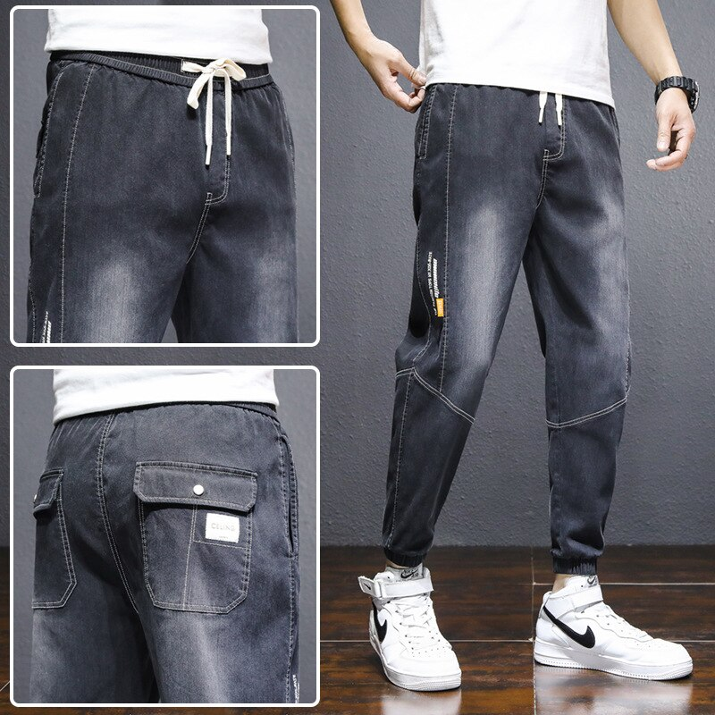 Укороченные джинсы, мужские свободные облегающие шаровары, корейские повседневные мужские брюки s, джинсы большого размера, мужские джинсы,...