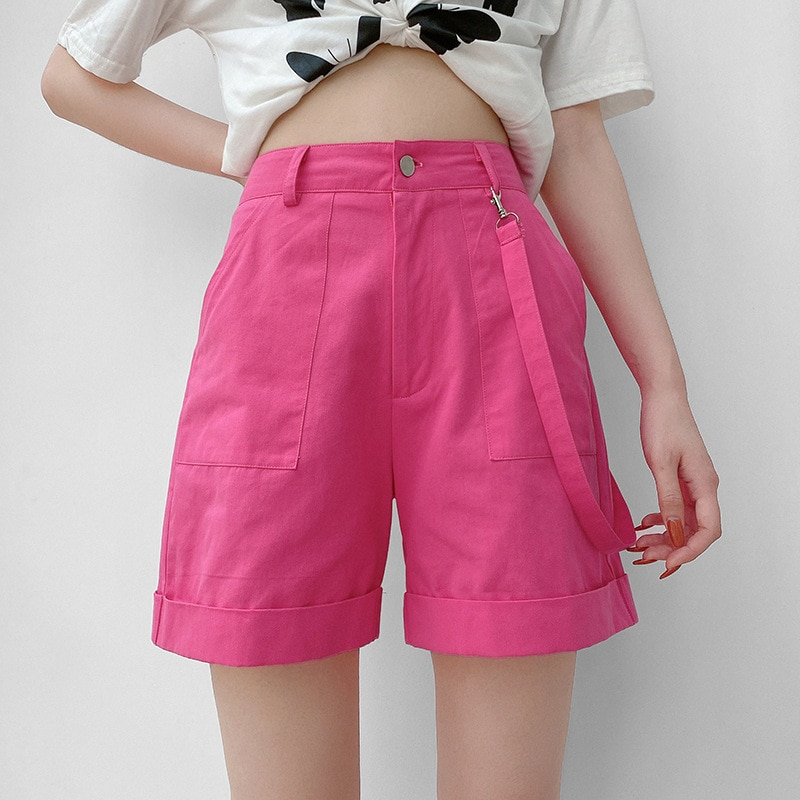 Pink loose pocket denim shorts women's street hipster net red rose red ribbon wide leg shorts summer 2020
