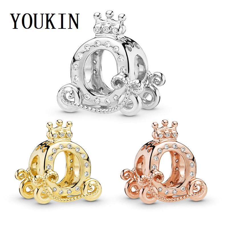 O anillos corona calabaza abalorios de coche para la fabricación de joyería mujeres brazaletes se ajustan Original Pandora encantos pulseras accesorios DIY fiesta regalo