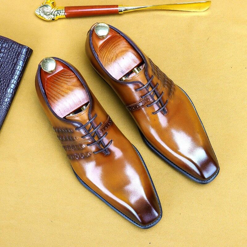 أحذية أكسفورد من الجلد الطبيعي للرجال ، أحذية أكسفورد ذات نوعية جيدة مع أربطة وأربطة