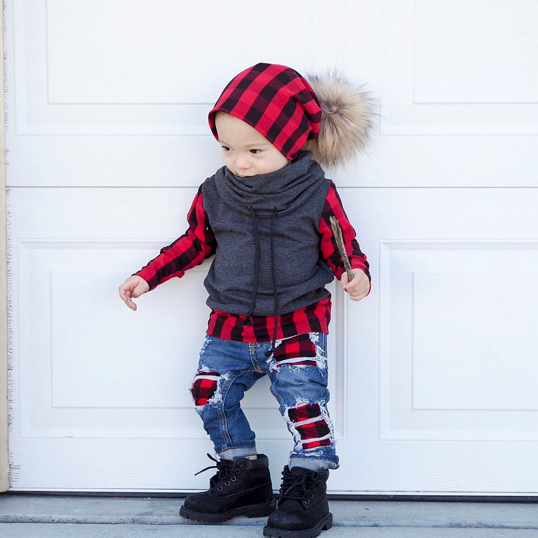 2019 Winter Warm 2pcs Toddler Kids Baby Boy Plaid Tops Pullover T Shirt Denim Hole Hip Pop Jeans Pants Leggings Outfit Clothes