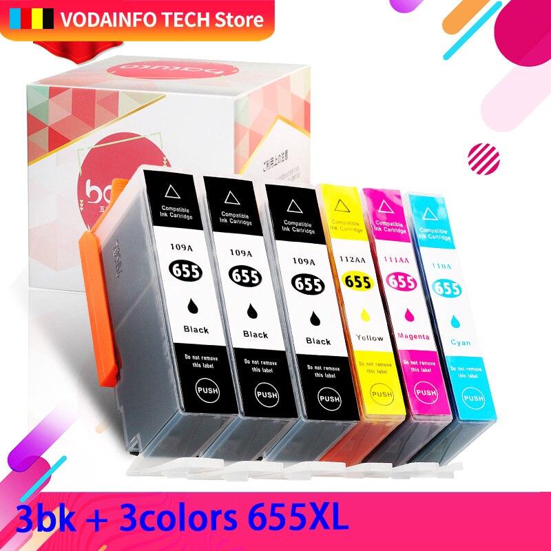QSYRAINBOW 6PK متوافق ل HP655 ل hp 655 ل hp655xl 655xl الحبر خرطوشة ل HP3525 4615 4625 5525 6520 6600 7110
