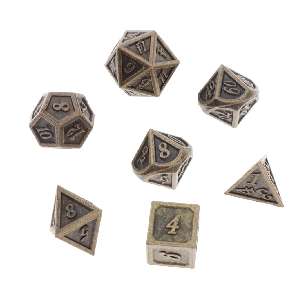 7pcs Polyhedral Dice Standard Size Bronze for Dungeons&Dragons D&D DnD Board Game D4 D6 D8 D10 D12 D20 Dices Set