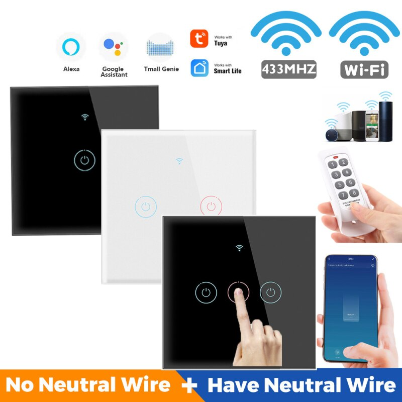 Tuya WiFi 433MHZ Wall Touch Switch Smart Home Tempered Glass Panel Timing Remote Control For Alexa Google Home Assistant