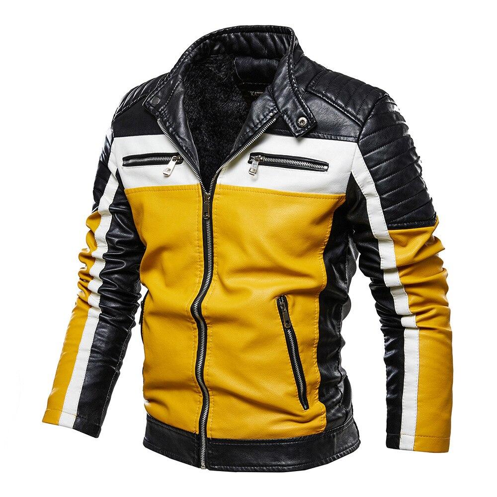 الرجال الأصفر سترة جلدية المرقعة السائق سترة الرجال عادية زيبر معطف الرجال دراجة نارية سترة يتأهل الفراء اصطف أبلى معطف