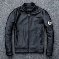 shipping dhl free mens black genuine cow leather jacket male pilot suit bomber jackets spring coat
