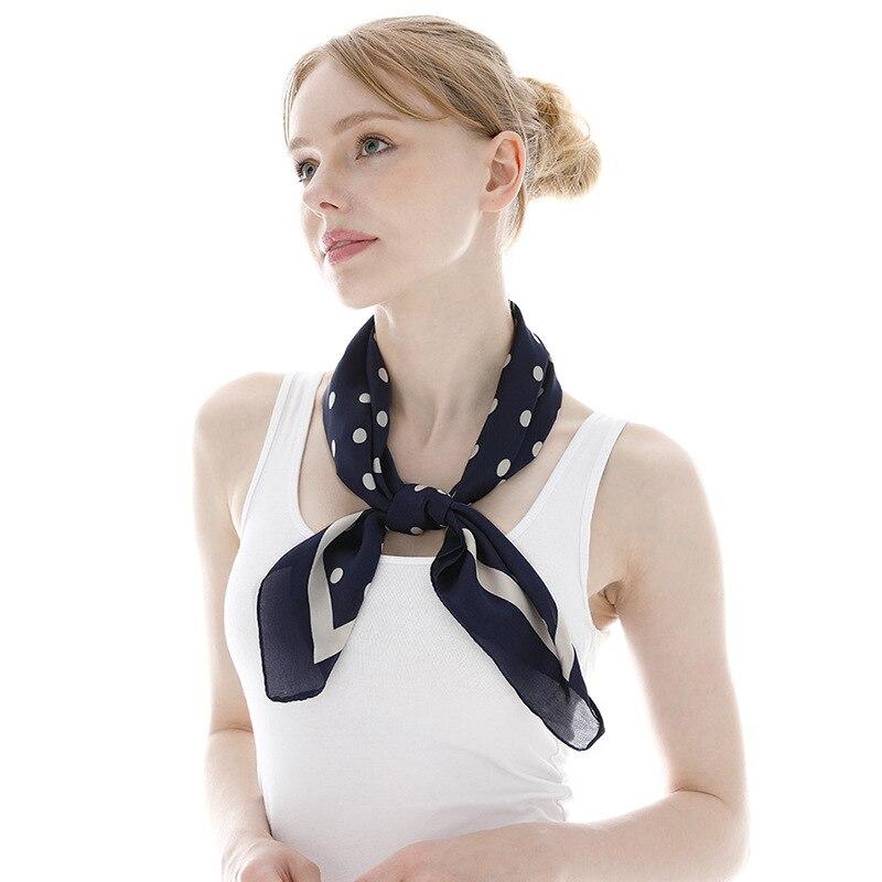 New Spain Luxury Brand Silk Scarf Women Polka Dot Square Shawls and Wraps Small Neckerchief Hair Tie Neck Hijabs Foulard 70*70Cm