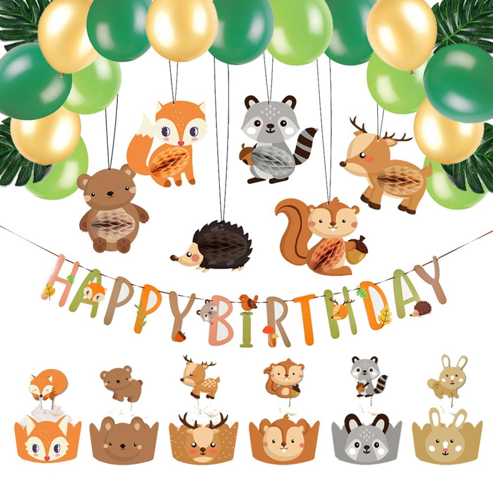 45pcs Birthday Decoration Jungle Animals Cake Toppers Happy Banner Balloons Tropical Party Decorations Kids