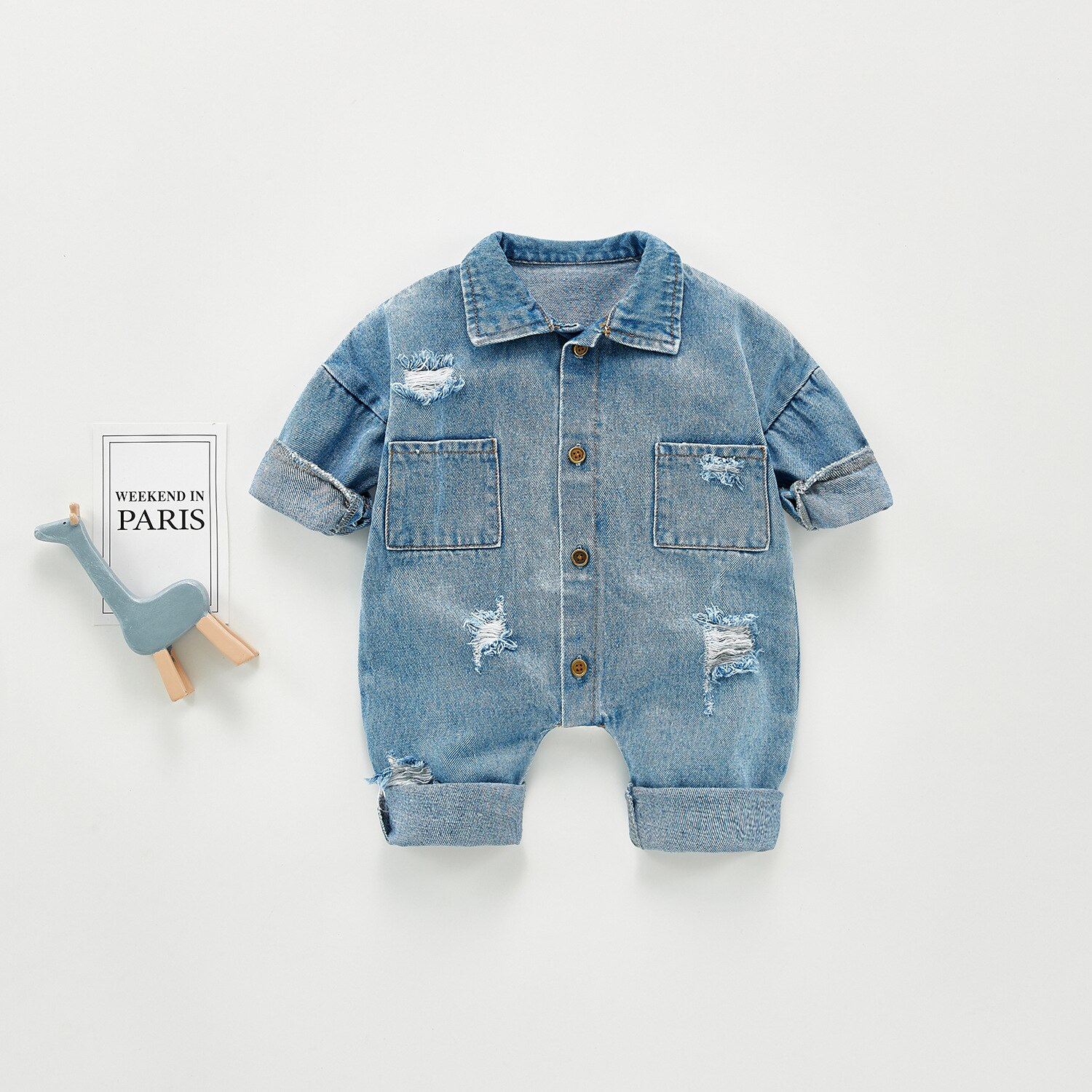 Yg Brand Spring And Autumn New Baby Fashion Style Denim Jumpsuit, Boys And Girls Lapel Long Sleeve C