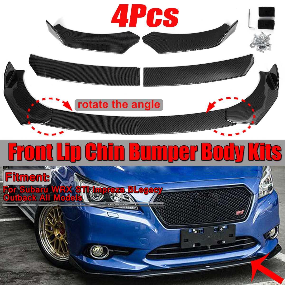 4 шт., автомобильный передний бампер для губ, сплиттер для подбородка, наборы для тела, бампер для губ, дефлектор для Subaru WRX STI Impreza BRZ Legacy Outback All