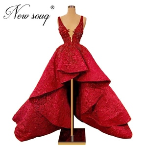 Dubai Arabic Party Dress High Low Red Beading Evening Gown Couture Newest Celebrity Gown For Weddings African Prom Dresses 2020