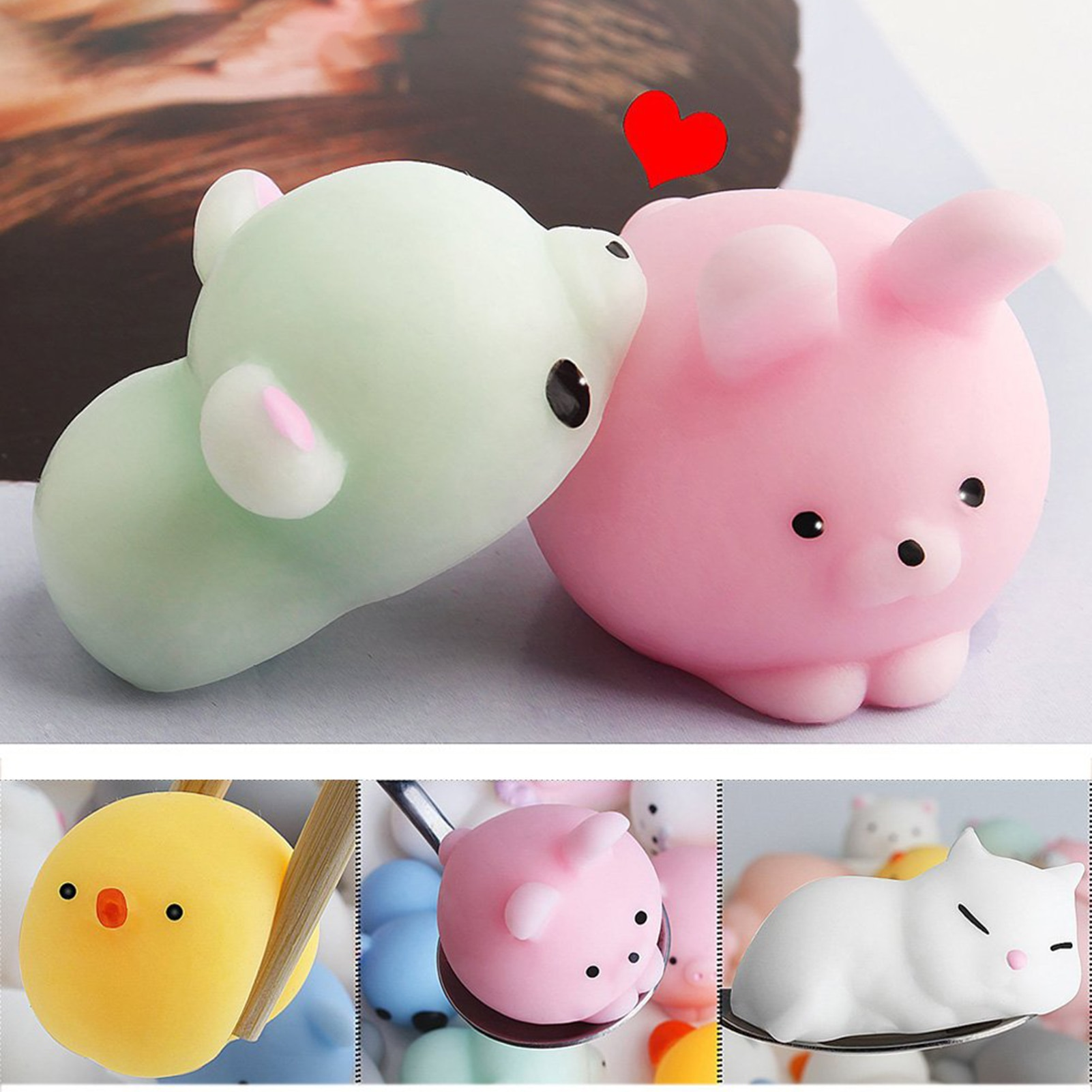 24 Pieces New Soft Squeeze Toys Cute Cartoon Stress Relief Miniature Animal Squeeze Toy Decompresssion Toys For Kids Gifts enlarge