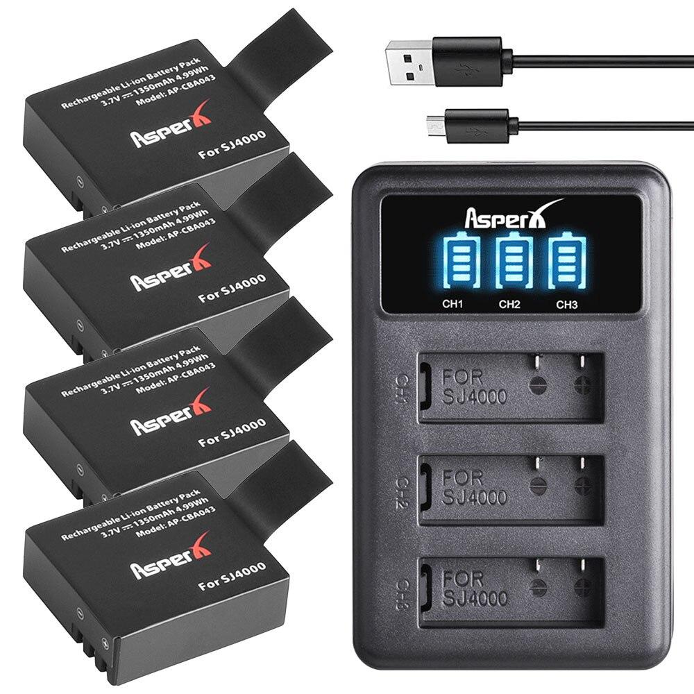 4Pcs SJ4000 PG1050 Battery Bateria + LED 3Slots USB Charger for SJCAM SJ4000 SJ5000 EKEN M10 4K H3 H8 H9 GIT-LB101 GIT PG900