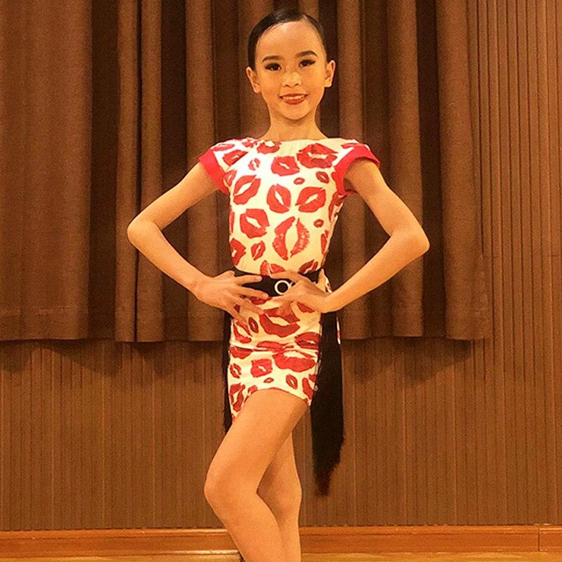 فستان رقص لاتيني جديد للنساء والأطفال ، فستان ممارسة مهدب ، أحمر شفاه ، تصميم مطبوع ، ملابس رقص للبنات ، زي أداء BL5613