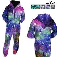 starry sky digital printing men and women the same loose hooded sweater jumpsuit long sleeved fleece pants